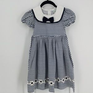 Rare Editions Sailor Dress Striped Size 5 Blue